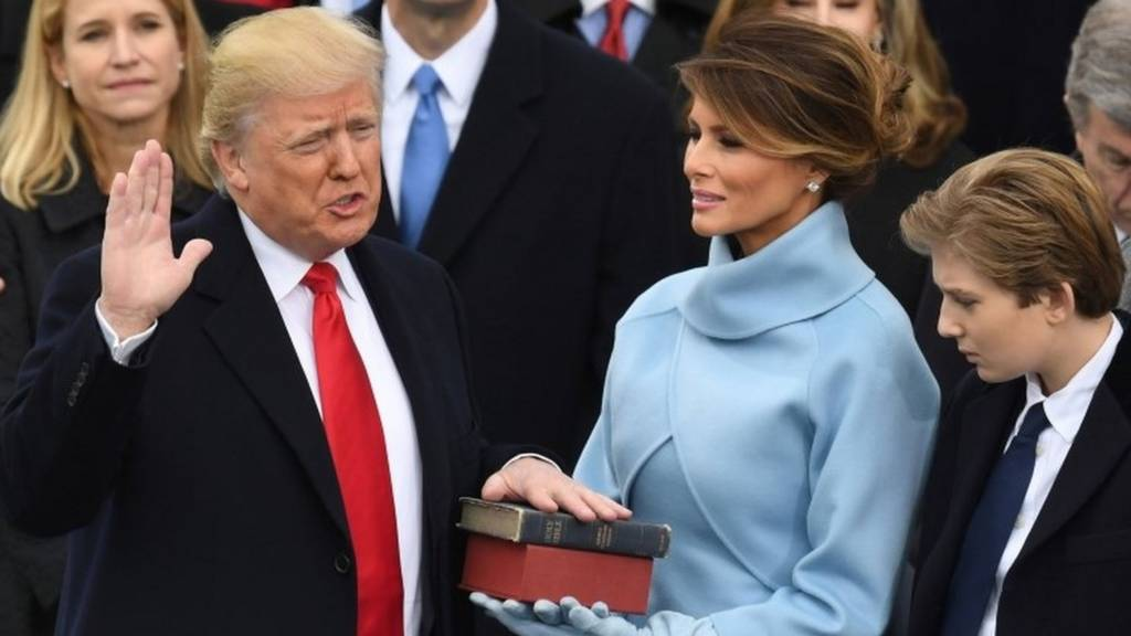 Donald Trump is sworn in as US president