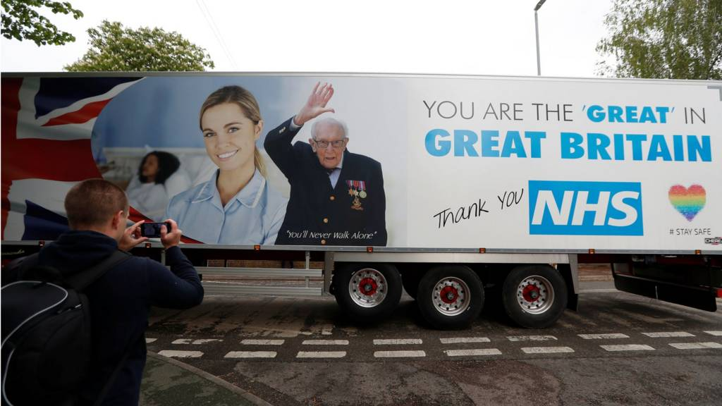 Lorry marking Capt Tom Moore's birthday