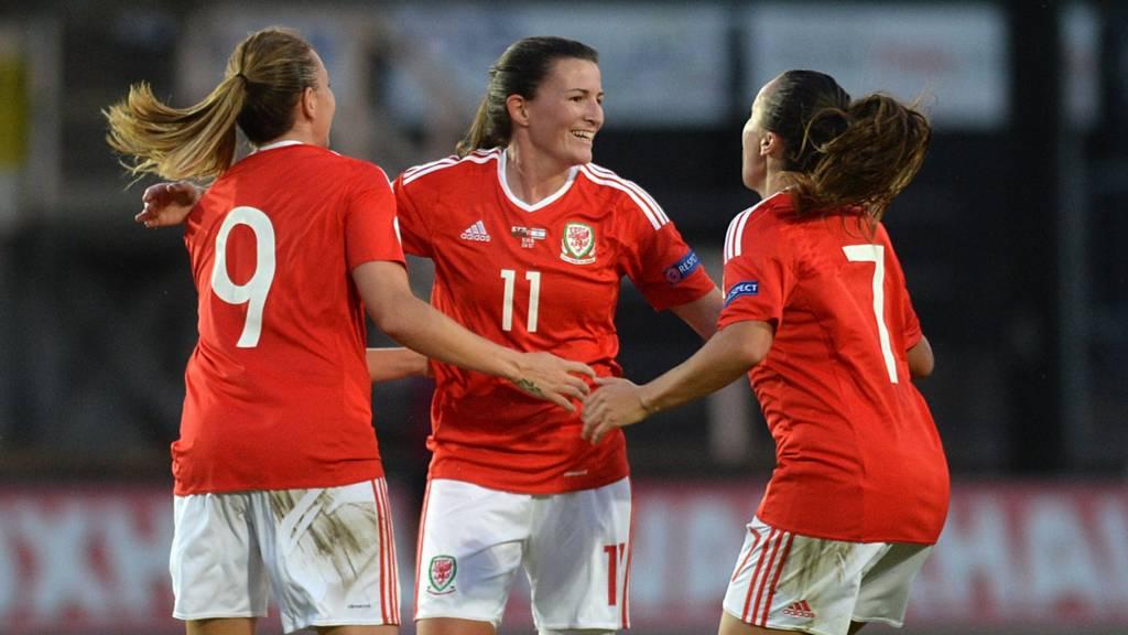 Wales striker Helen Ward celebrates after scoring against Israel