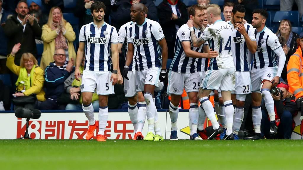 West Brom celebrate Dawson goal
