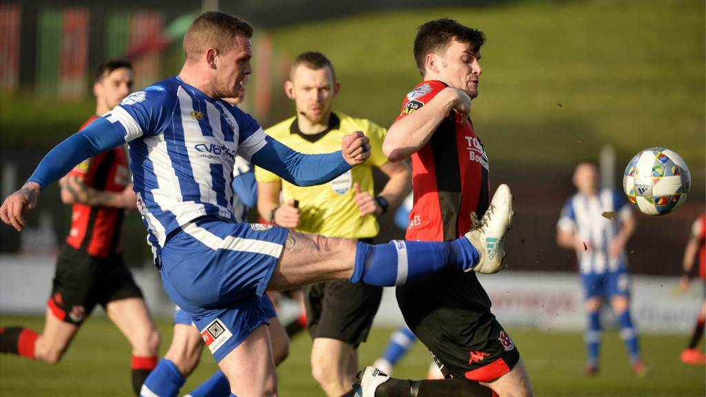 Action from Coleraine against Crusaders