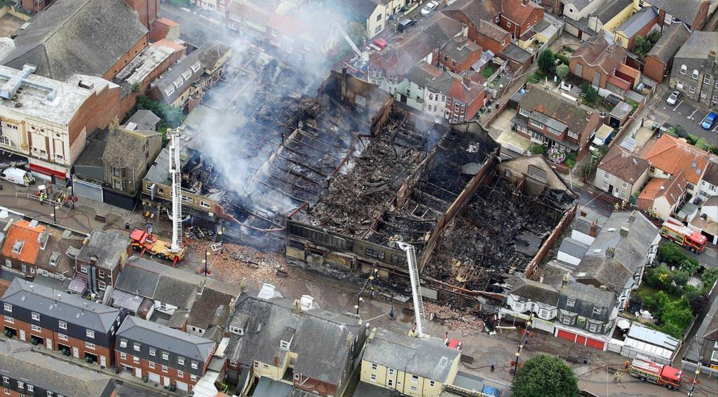 Aerial view of fire damage in Great Yarmouth