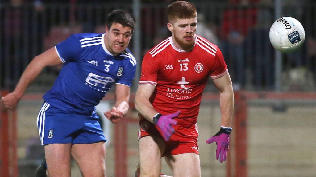 Monaghan's Drew Wylie tries to keep pace with Tyrone's Cathal McShane at Healy Park