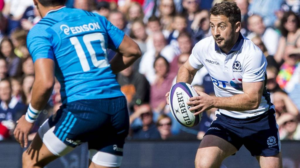 Greig Laidlaw playing for Scotland against Italy