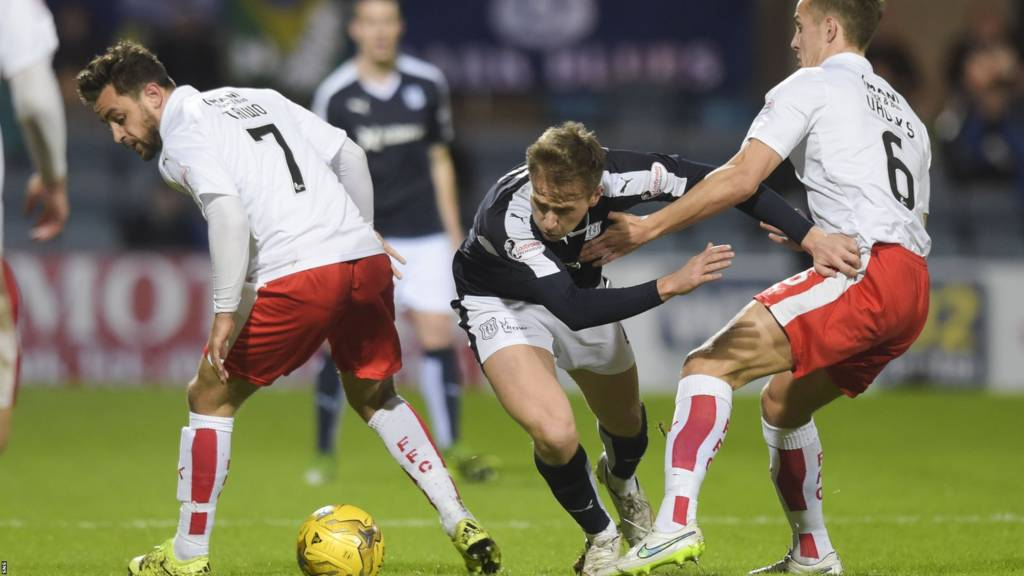 Dundee's Greg Stewart is challenged by Falkirk's Will Vaulks
