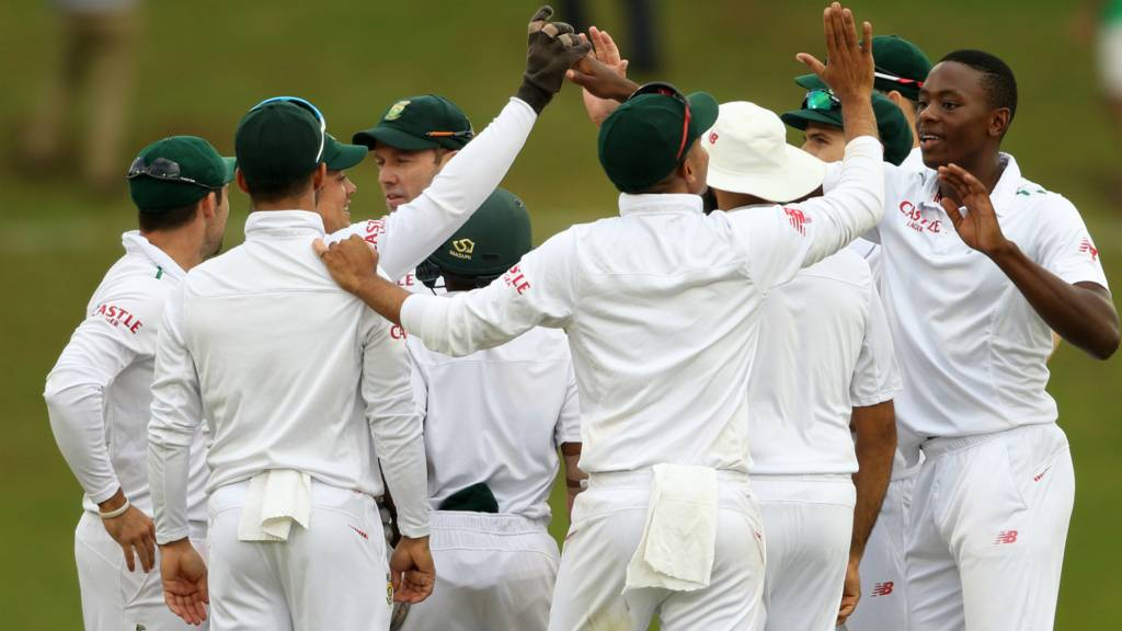 Kagiso Rabada celebrates with the South Africa players