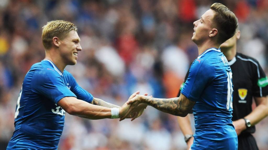Martyn Waghorn and Barrie McKay celebrate for Rangers