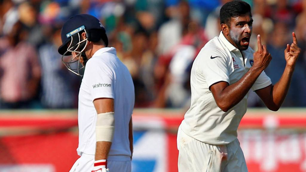 Ravichandran Ashwin of India celebrates the dismissal of England's Joe Root