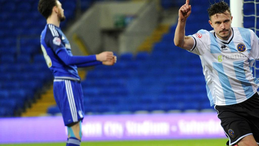 Shrewsbury's Andy Mangan celebrates