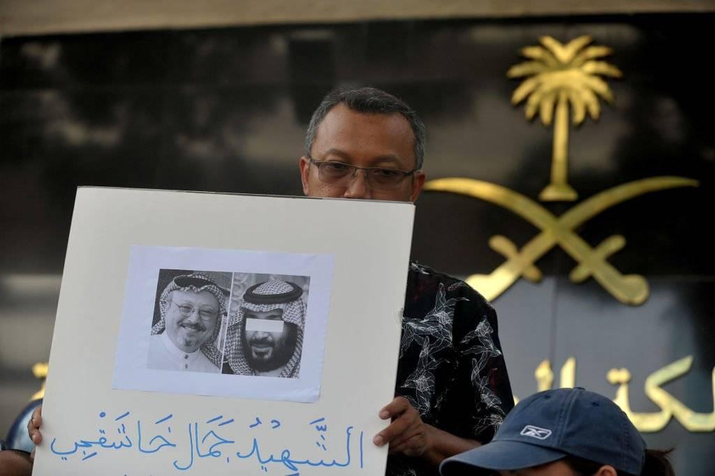 متضامن مع قضية خاشقجي أمام السفارة السعودية في أندونيسيا