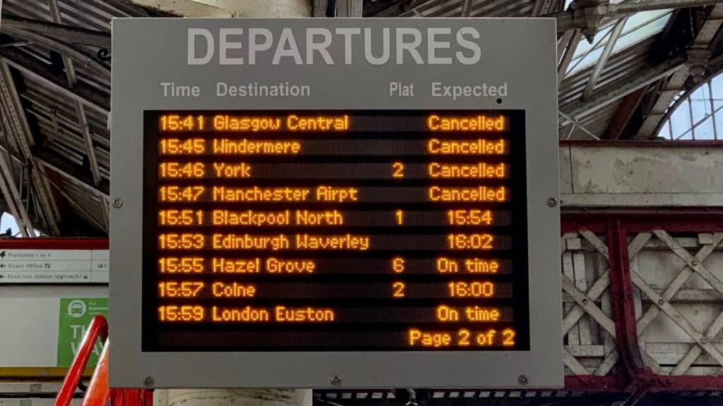 Departures board at Preston