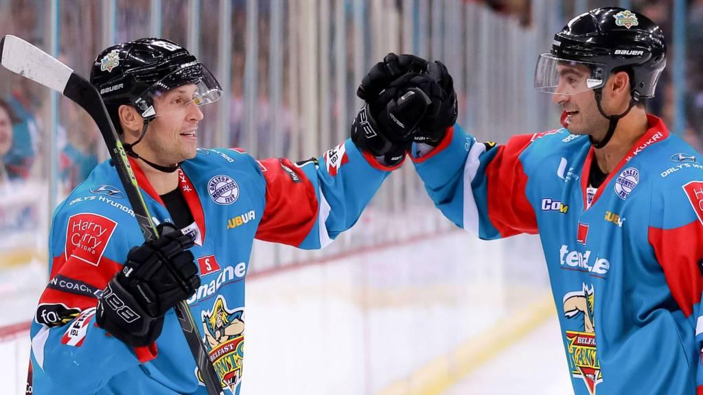 Belfast Giants Dustin Johner and Spiro Goulakos