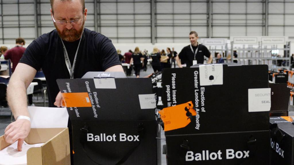 Ballot boxes in east London