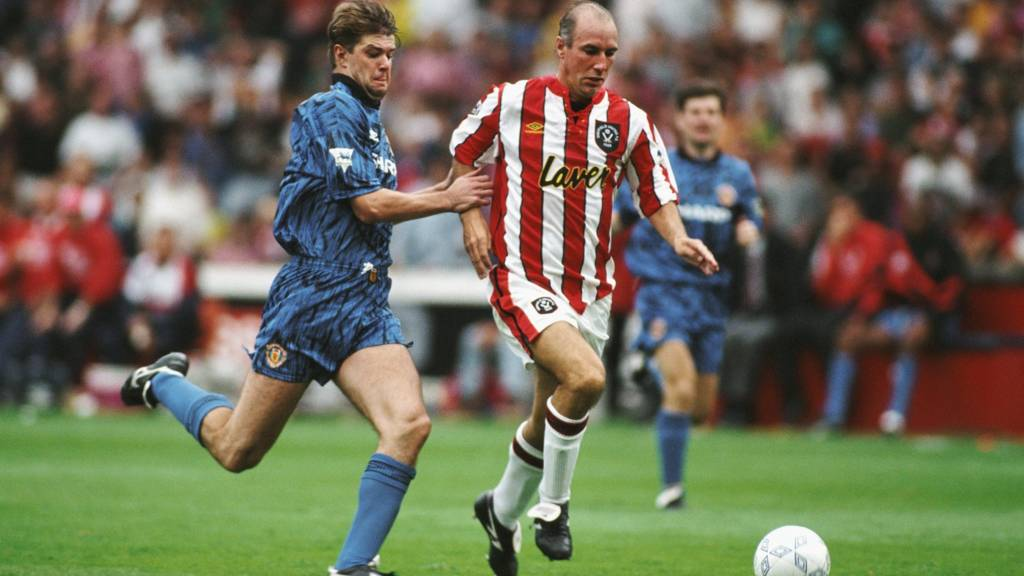 Alan Cork outpaces Gary Pallister of Manchester United getty