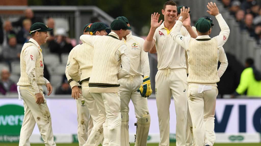 Josh Hazlewood and Australia celebrate
