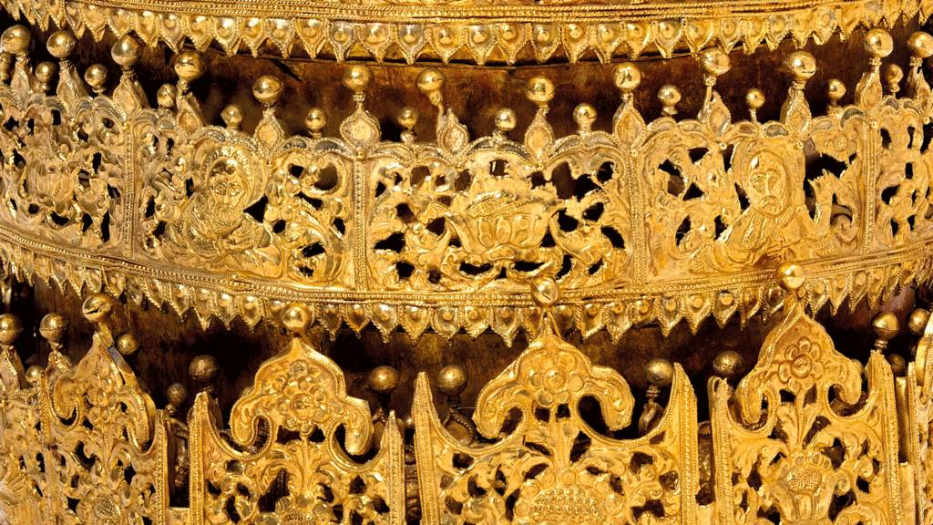 Close up of an Ethiopian crown that is going on display at the Victoria and Albert Museum in London