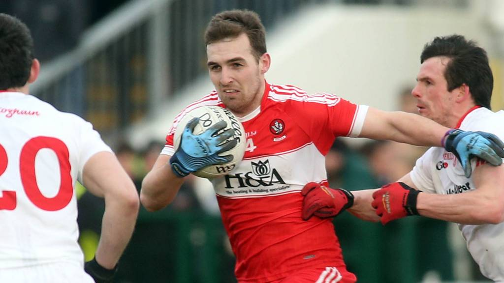 Action from Derry against Tyrone