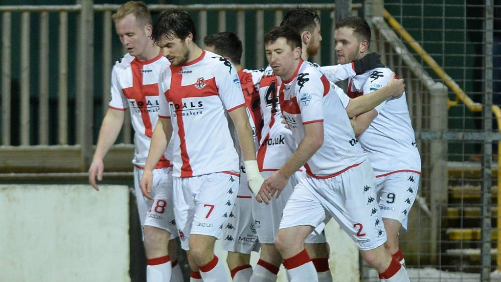 Darren Murray is congratulated after scoring for Crusaders at Carrick