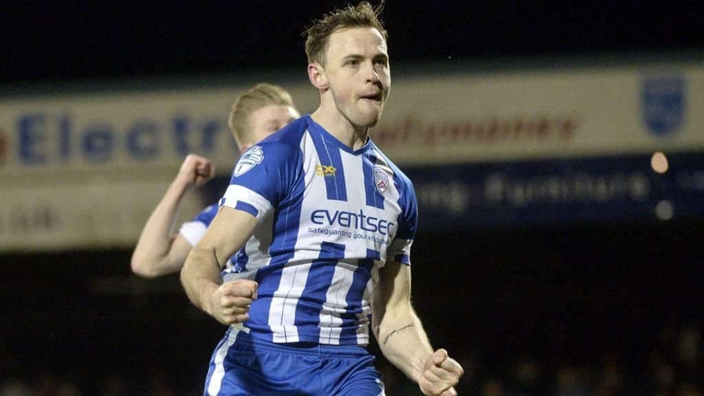 Darren McCauley celebrates after putting Coleraine ahead against Glentoran