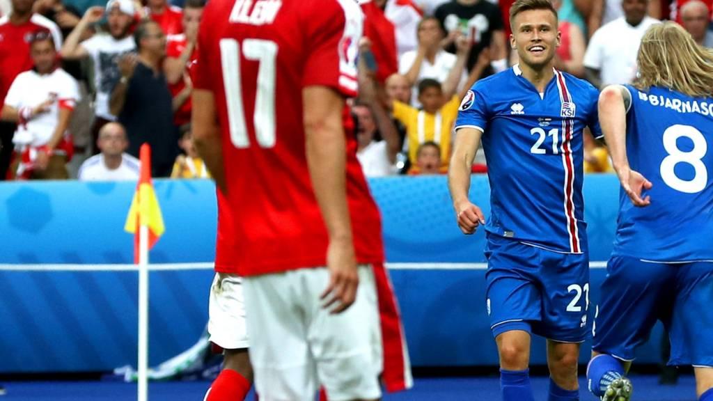 "Iceland""s Arnor Ingvi Traustason celebrates"