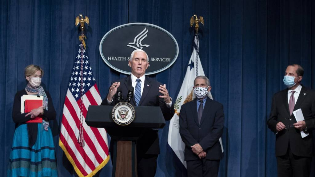 Mike Pence delivers the White House coronavirus briefing