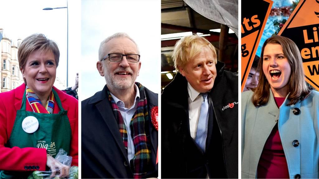 Boris Johnson, Nicola Sturgeon, Jeremy Corbyn and Jo Swinson on the campaign trail
