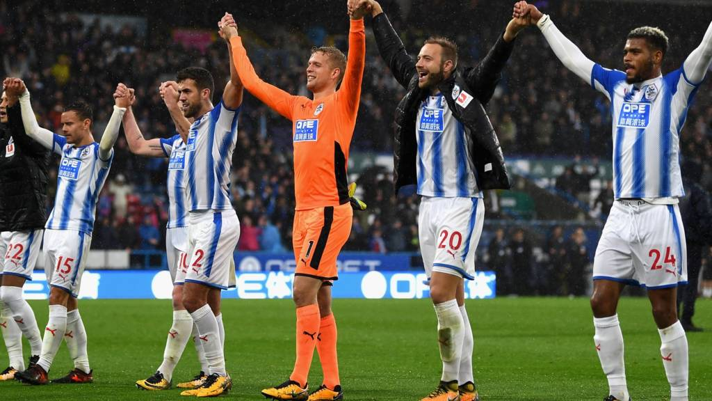 Huddersfield Town players celebrate