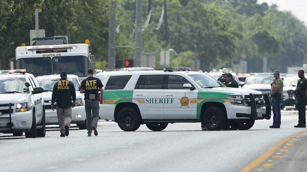 Santa Fe High School where a shooter killed at least 10 students on May 18, 2018 in Santa Fe, Texas