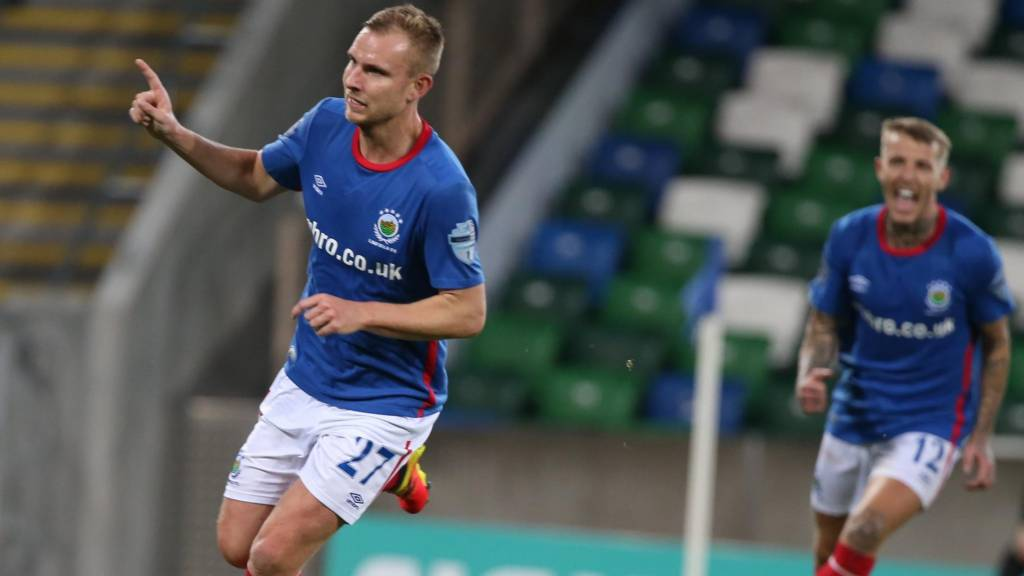 Action from Linfield against Lisburn Distillery