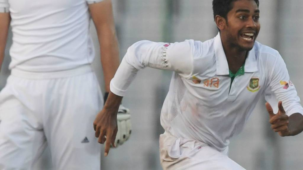 Mehedi Hasan celebrates