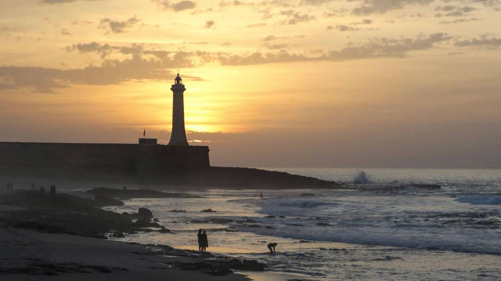 A beach and lighthouse in Rabat, Morocco, at sunset - Wednesday 2 November 2016