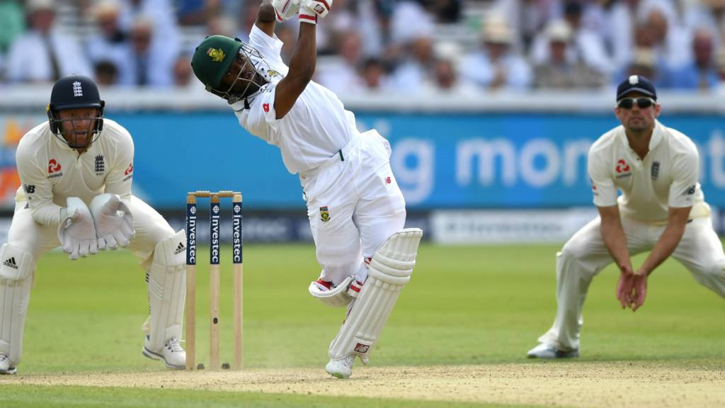 South Africa's Bavuma hits Ali over mid-on for four