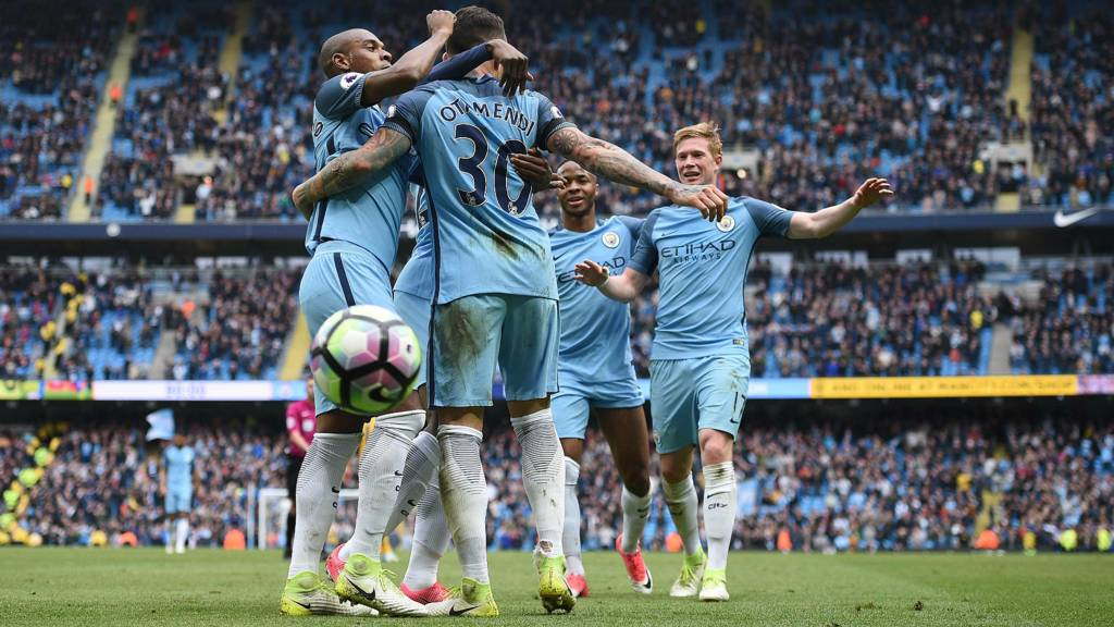 Manchester City celebrate their win