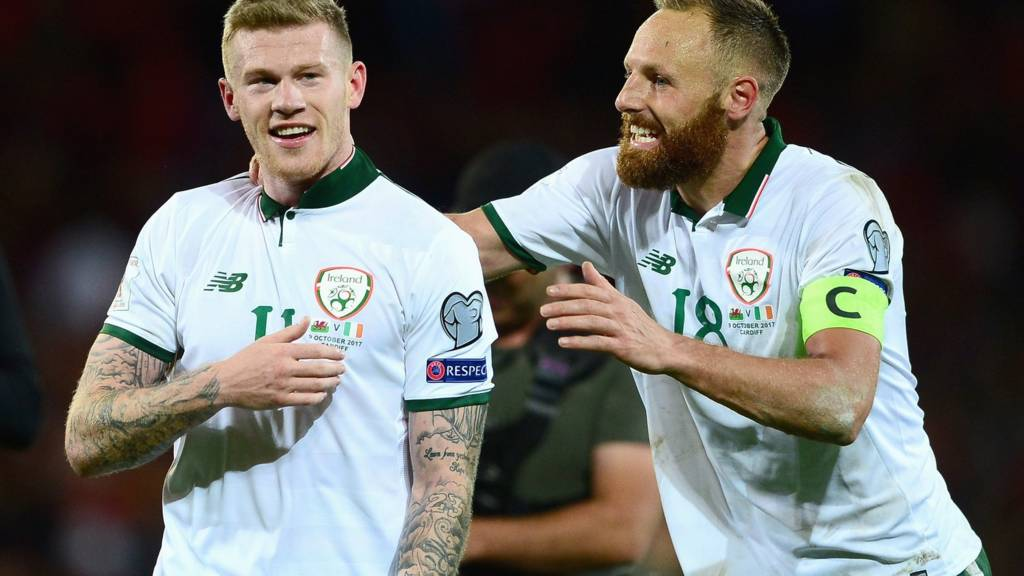 James McClean and David Meyler celebrate