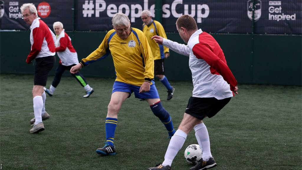 Men playing Walking Football during the FA People's Cup