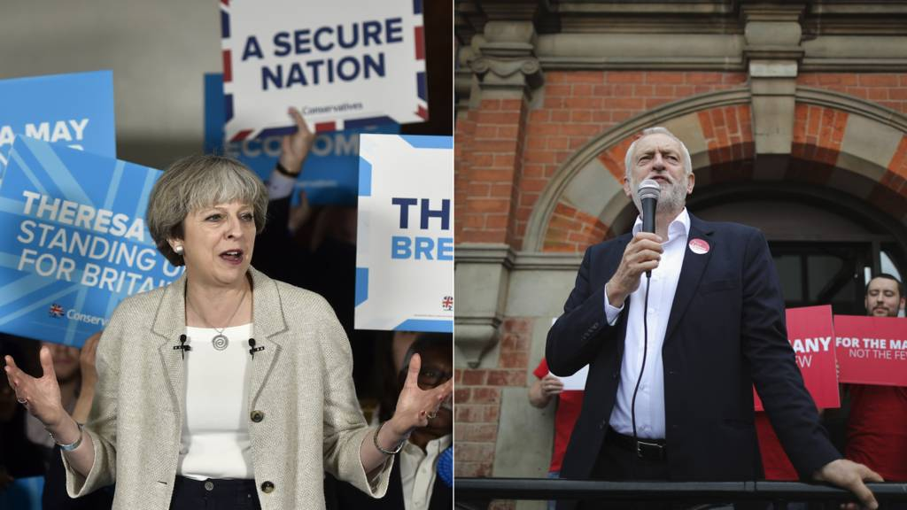 Theresa May and Jeremy Corbyn on 3 June 2017