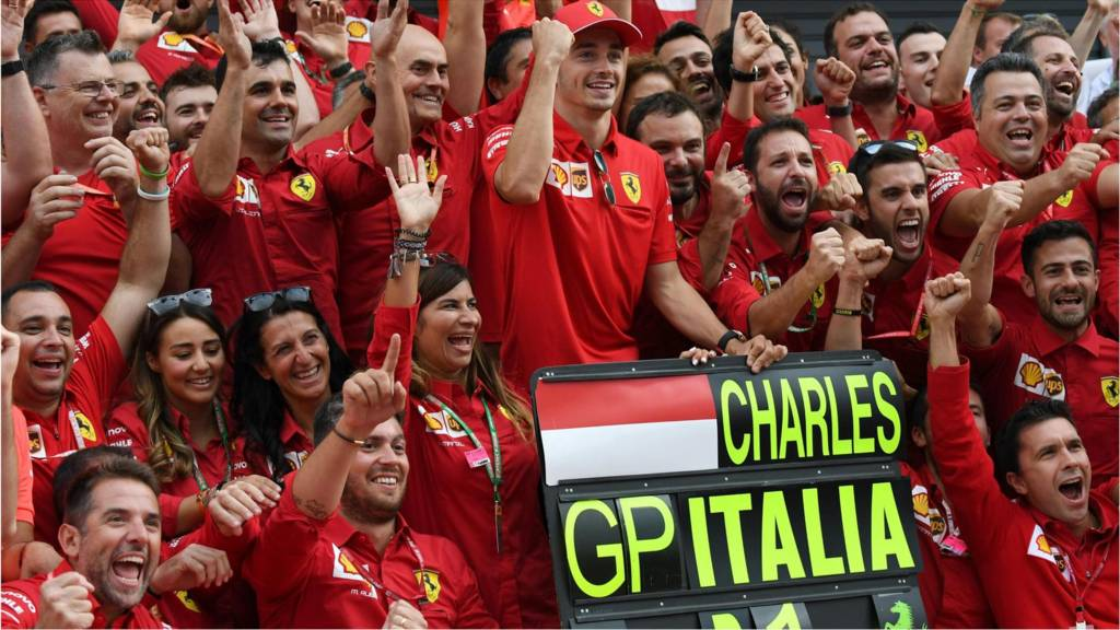 Charles Leclerc celebrates