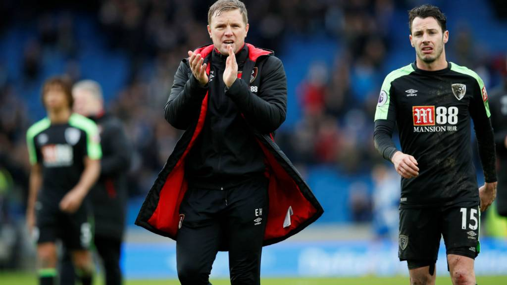 Bournemouth manager Eddie Howe claps his supporters at full-time