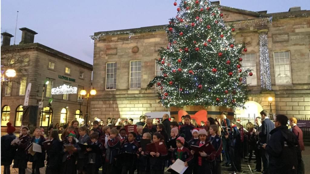 Carols sung around Stafford's Christmas Tree