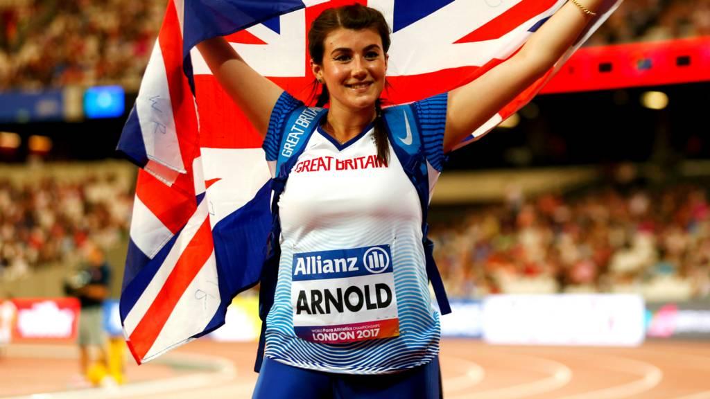 Hollie Arnold celebrates