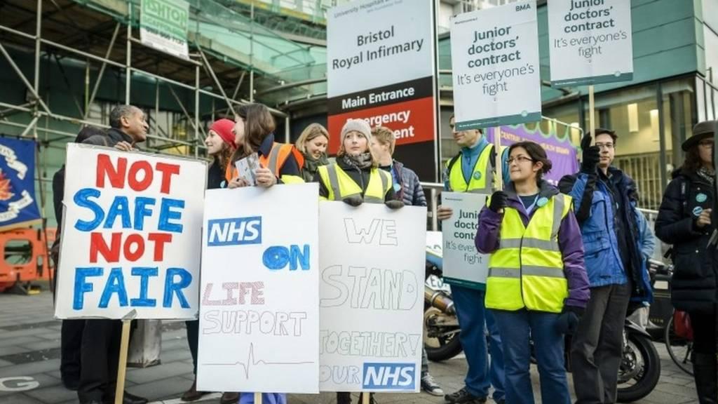 Junior doctors' strike outside the BRI