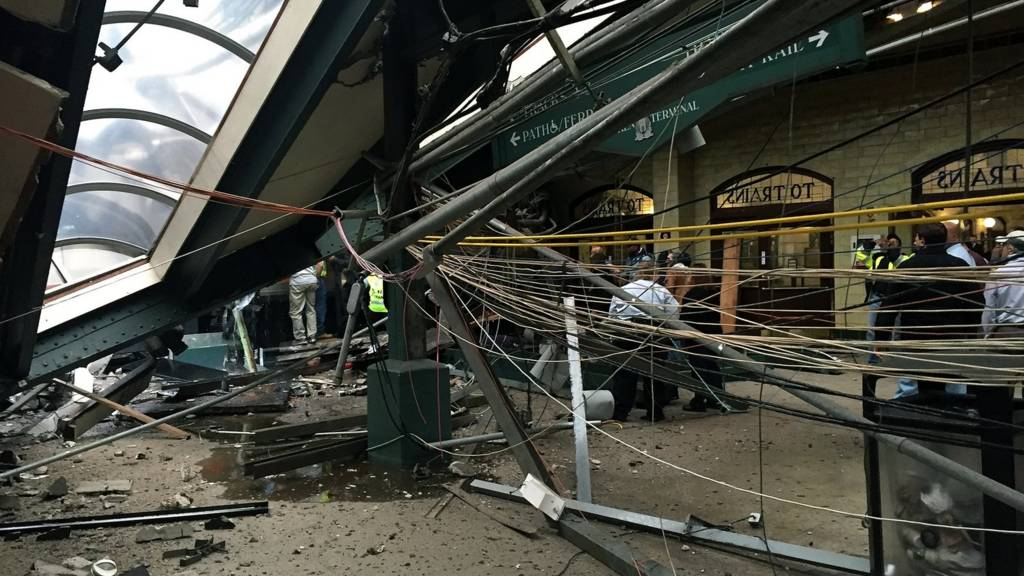 The roof collapse after a NJ Transit train crashed in to the platform at the Hoboken Terminal September 29, 2016