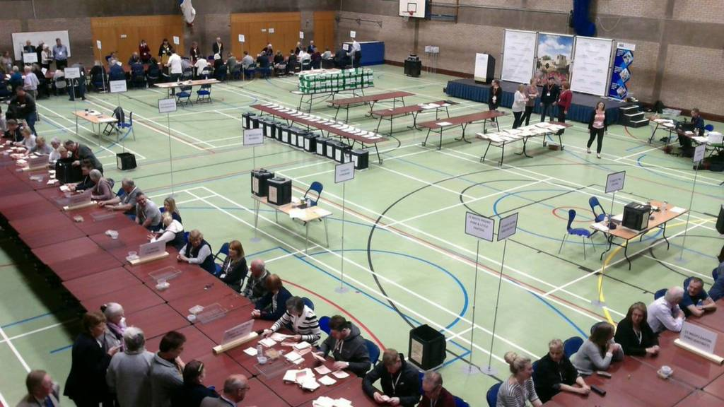 Vote counting taking place in Huntingdon