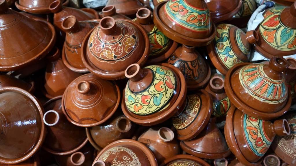 Pots in in Marrakech, Morocco