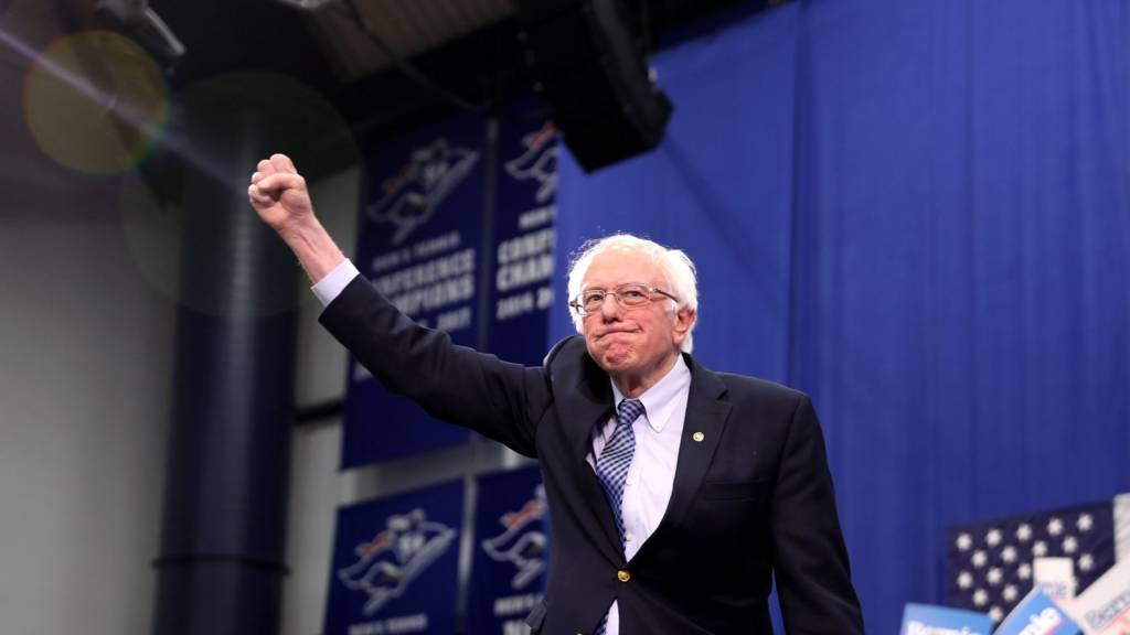 Democratic presidential candidate Sen. Bernie Sanders (I-VT) takes the stage
