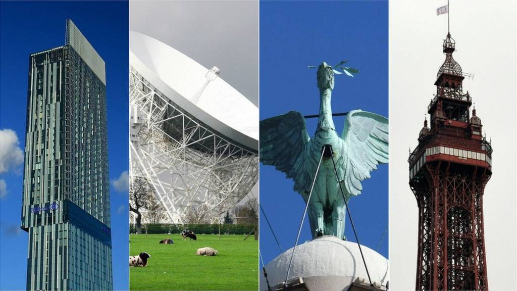 Beetham Tower, Lovell Telescope, Liver Bird, Blackpool Tower