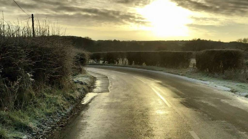 Frosty road in north Staffordshire