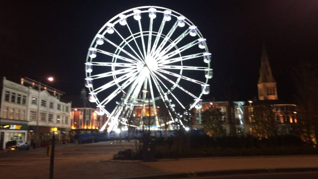 Wheel of light at night