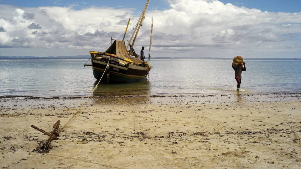 Aboard a dhow, 'botry' in Malagasy, traditional boat from Madagascar and the Mozambique Channel