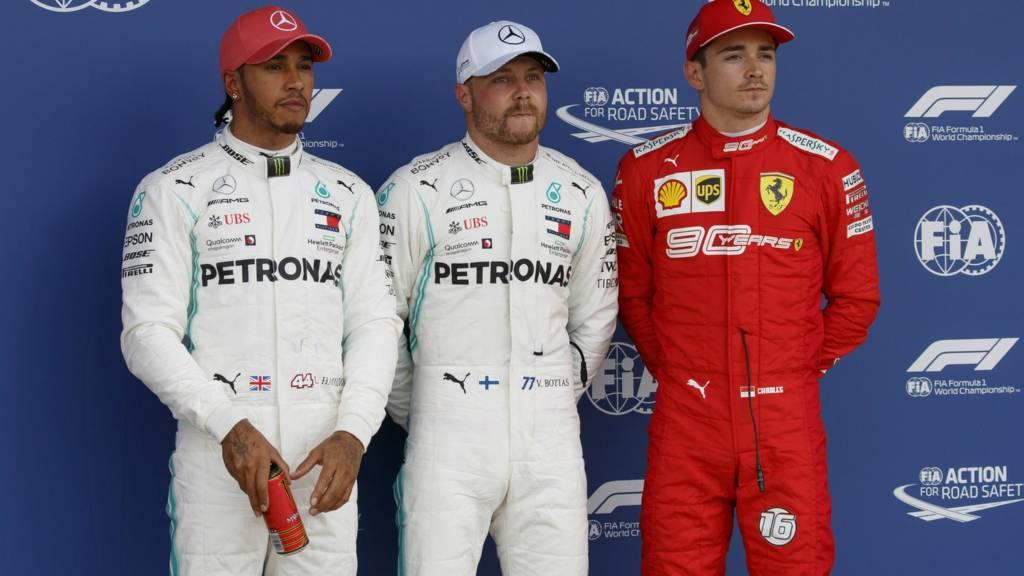 Hamilton, Bottas and Leclerc